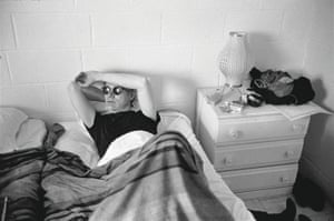 Warhol in a hotel room during the filming of My Hustler