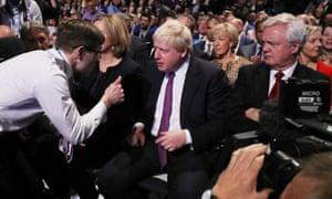 Simon Brodkin gives the thumbs up to the foreign secretary, Boris Johnson.