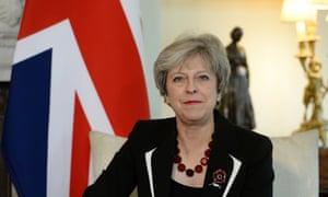 Theresa May with British flag