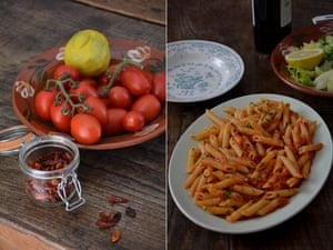 Rachel Roddy's penne all'arrabbiata (penne with tomato and chilli sauce).