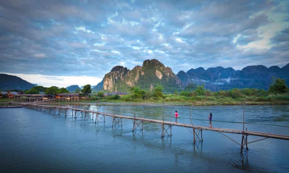 Footbridge over the Nam Song river at Vang Vieng.