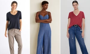 L-R: a lyocell t-shirt from Hanro, jumpsuit from Mango and t-shirt from Zara