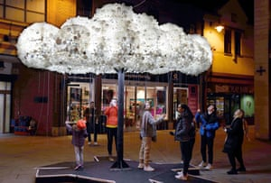 Durham, EnglandVisitors admire the artwork 'Cloud', formed from 6,000 incandescent light bulbs, during a dress rehearsal for 'Lumiere Durham' light festival in Durham.