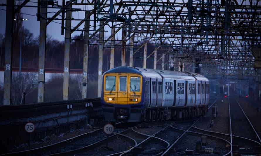 A Northern train approaching Stockport station.