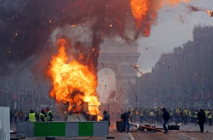 A fire rages on the Champs-Elysees.