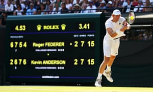 Kevin Anderson plays a backhand during an enthralling and tense final set against Roger Federer.