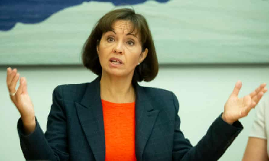 Caroline Flint speaks during a press briefing held by MPs for a Deal at Portcullis House in Westminster.