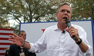 Republican presidential candidate Jeb Bush speaks to students and supporters during a tailgate campaign stop on the campus of Mississippi State, in Starkville, Mississippi on Saturday.