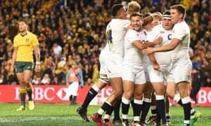 England celebrate Jamie George's try against Australia