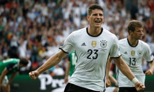 Mario Gomez celebrates after scoring the opening goal.