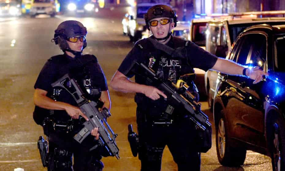 Armed police outside the Manchester Arena following Monday night's deadly blast.