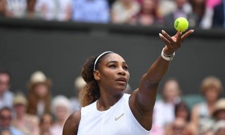 Serena Williams prepares to serve.