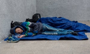 'The figure of the Muslim is vital for today's post-racial racism without racists.' Refugees sleep at a railway station in Salzburg, Austria.