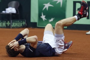 Murray faals to the ground as he celebrates winning the Davis Cup.