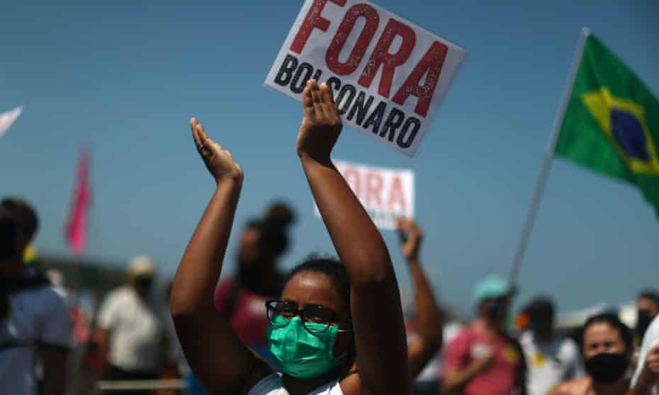 A protest against Bolsonaro on Copacabana beach. Objectors have intensified their campaign against Bolsonaro, with plans for rallies in dozens of major cities.
