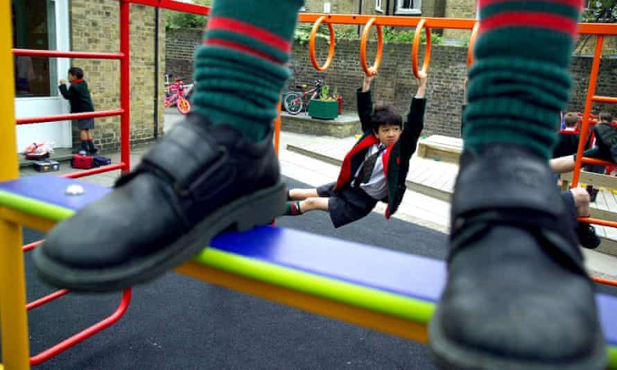 young children in school playground