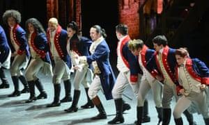 """Lin-Manuel Miranda, center, and the cast of """"Hamilton"""" perform at the Tony Awards."""