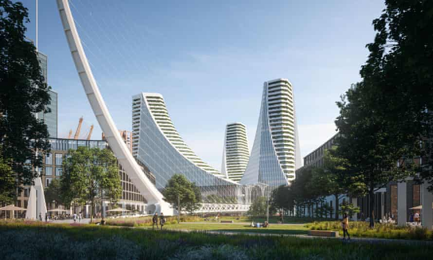 An artist's impression of the Greenwich Peninsula scheme, which will include a new tube and bus station, theatre, cinema and performance venue, bars, shops and a wellbeing hub.
