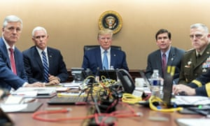 A White House image of Donald Trump with others in the situation room