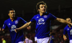 Everton's Leighton Baines (right) celebrates after equalising from the spot in a 1-1 draw at Sunderland in December 2011.