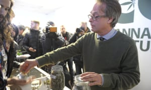 """Marc Emery, Canada's self-proclaimed """"Prince of Pot"""", is seen in his illegal recreational cannabis storefront in Montreal, Quebec, on Thursday."""