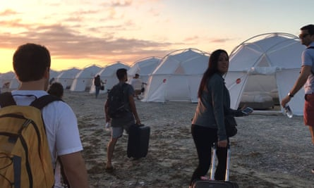 A still from the Netflix documentary shows guests arriving at the Fyre festival