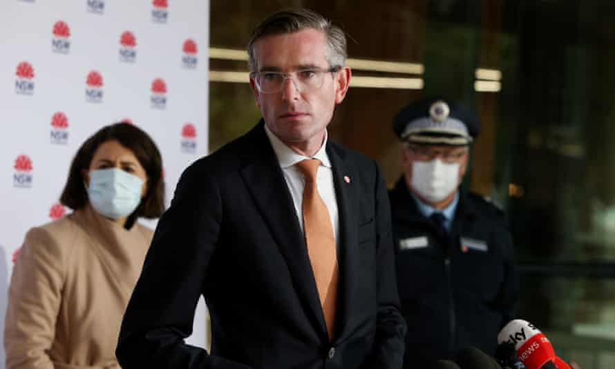 NSW treasurer Dominic Perrottet speaks to the media during a Covid-19 briefing