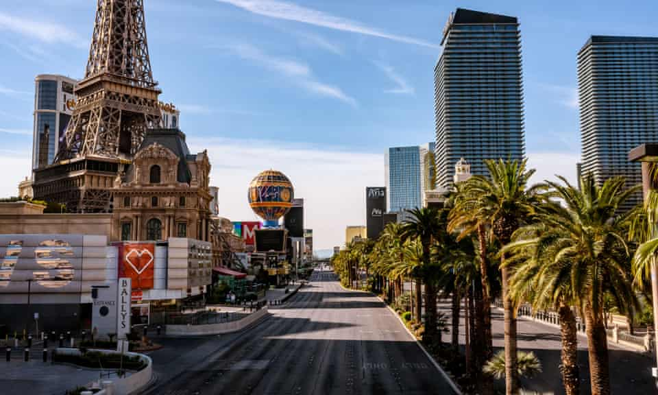The Las Vegas Strip sits empty amid the Covid-19 outbreak, 31 March 2020.