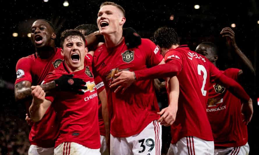 Manchester United's Scott McTominay celebrates after scoring his side's second goal