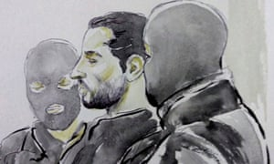 Court sketch of Mehdi Nemmouche in court in Brussels.