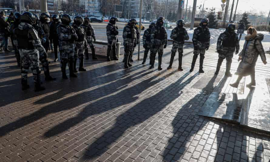 Russian police standing guard near the Moscow city court on Tuesday.