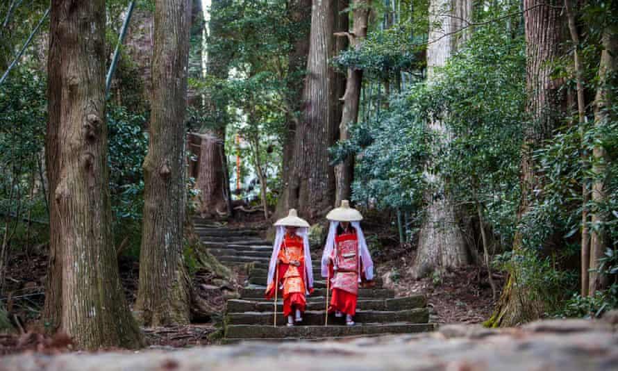 Pilgrims in Heian period costumes at the Kumano Nachi Taisha shrine.