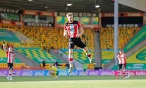 Stuart Armstrong celebrates scoring Southampton;s second goal.