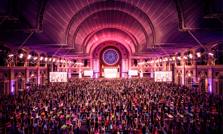Bringing yoga to the masses … The event at Alexandra Palace, London, this month.
