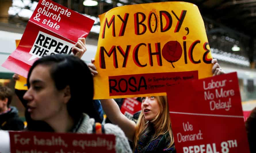 Pro-choice activists demonstrate in Dublin, after they took a train from Dublin to Belfast to bring back abortion pills unavailable in Ireland.