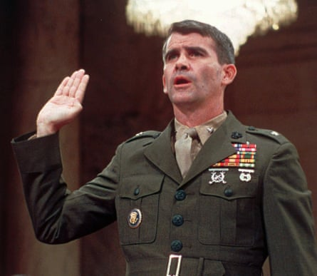 TV memories … Lt Col Oliver North is sworn in before Congress for the Iran-Contra hearings, July 1987.