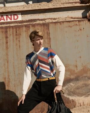 Jumper, £29.99, belt, £25.99 both zara.com. Cords, frenchconnection.com