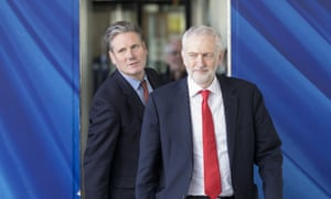 Then shadow Brexit secretary Keir Starmer and then Labour leader Jeremy Corbyn in Brussels, Belgium, March 2019