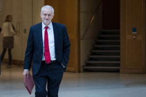Labour leader Jeremy Corbyn walks through Portcullis House in Westminster, London, on his way to Prime Minister Theresa May's office in the Houses of Parliament for talks on Brexit.