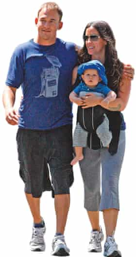 Photograph of Alanis Morissette with husband, rapper Mario 'Souleye' Treadway, and son Ever.