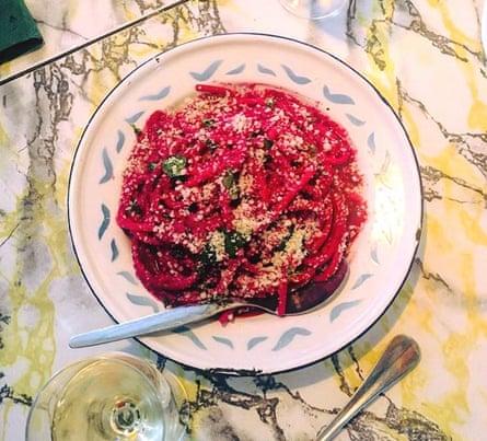 beetroot pasta in dish