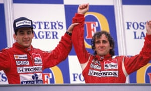 Teammates Ayrton Senna (left) and Alain Prost celebrate here but had a fractious rivalry at McLaren in the late 1980s.