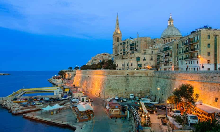 Valletta, Malta, at night, with St Paul's Pro-Cathedral illuminated