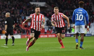 Chris Maguire celebrates giving Sunderland the lead against Portsmouth with a fierce shot.