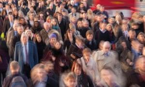 Commuters walking to work, rush hour, London, UK.