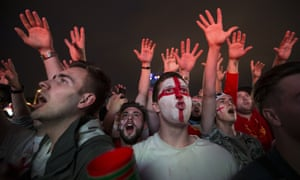England fans watch the Colombia match in a fan zone in Moscow.