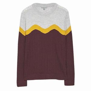 Wave motif top burgundy grey yellow Cos