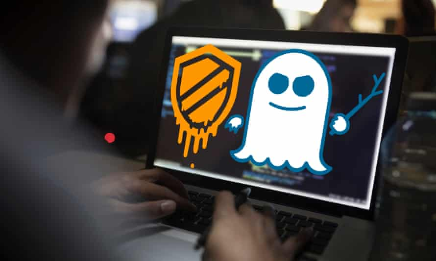 Meltdown and Spectre logos overlaid on computer screen