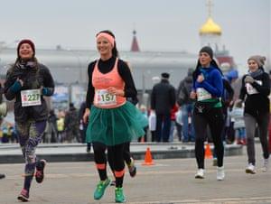 Minsk, Russia Women participate in a 'Beauty Run'