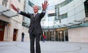 Tony Hall outside BBC Broadcasting House.
